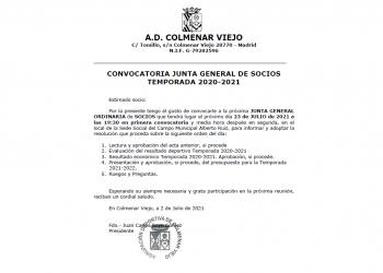 Convocatoria Junta General de Socios Temporada 2020-2021